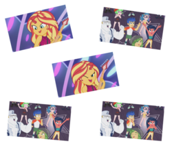 Size: 1067x922 | Tagged: safe, screencap, bulk biceps, desert sage, doodle bug, drama letter, flash sentry, mile hill, sandalwood, sunset shimmer, technicolor waves, waldo whereabout, watermelody, equestria girls, equestria girls series, spring breakdown, spoiler:eqg series (season 2), :o, background human, blushing, clothes, converse, cute, diasentres, female, flashimmer, implied flashimmer, implied shipping, implied straight, male, one eye closed, open mouth, photo, shipping, shipping fuel, shoes, simple background, sleeveless, starry eyes, straight, swimsuit, transparent background, wingding eyes, wink