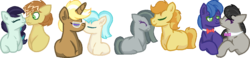 Size: 1107x255 | Tagged: safe, artist:summersketch-mlp, braeburn, coco pommel, coloratura, feather bangs, marble pie, octavia melody, parish nandermane, trenderhoof, equestria girls, base used, braeble, colorabangs, crack shipping, eyes closed, female, male, shipping, simple background, straight, transparent background, trenderpommel