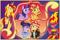 Size: 5063x3375 | Tagged: alicorn, alicorn amulet, alicornified, artist:spinoffjoe, equestria girls, fanfic art, fanfic:long road to friendship, fanfic:sunset of time, female, lesbian, looking at each other, pony, race swap, safe, sci-twi, scitwishimmer, shimmercorn, shipping, slit eyes, sunset satan, sunset shimmer, sunsetsparkle, twilight sparkle, twilight sparkle (alicorn), unicorn