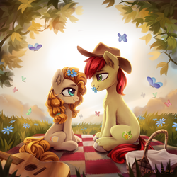 Size: 3000x3000 | Tagged: safe, artist:inowiseei, bright mac, pear butter, butterfly, earth pony, pony, the perfect pear, acoustic guitar, applejack's parents, brightabetes, brightbutter, commission, cowboy hat, cute, daaaaaaaaaaaw, ear fluff, eye contact, female, flower, flower in hair, grin, guitar, happy, hat, husband and wife, looking at each other, male, mare, mouth hold, musical instrument, pearabetes, picnic, romantic, shipping, smiling, stallion, straight, sweet dreams fuel, unshorn fetlocks