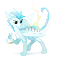 Size: 813x922 | Tagged: safe, artist:tomatocoup, oc, oc only, oc:patch, dracony, dragon, feathered dragon, hybrid, original species, pony, female, flask, fluffy, paws, simple background, solo, spread wings, standing, transparent background, wings