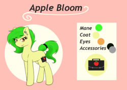 Size: 1280x905 | Tagged: alternate hair color, alternate universe, apple bloom, arima verse, aromantic, artist:larasilvestris, club owner, earth pony, green hair, porn star, redesign, safe, tv hostess