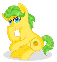 Size: 858x932 | Tagged: artist:rainbowtashie, mosely orange, pony, safe, simple background, solo, stifling laughter, transparent background, uncle orange