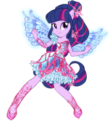 Size: 2250x2500   Tagged: safe, artist:gihhbloonde, twilight sparkle, alicorn, fairy, human, equestria girls, blue wings, butterflix, clothes, crossover, dress, fairy wings, fairyized, female, high heels, humanized, musa, ponied up, pony ears, rainbow s.r.l, shoes, simple background, smiling, solo, sparkly wings, transparent background, twilight sparkle (alicorn), winged humanization, wings, winx, winx club, winxified