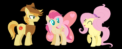 Size: 1292x524 | Tagged: artist:blueberrymuffin02, braeburn, braeshy, family, female, fluttershy, male, oc, oc:love butterfly apple, offspring, parent:braeburn, parent:fluttershy, parents:braeshy, safe, shipping, straight