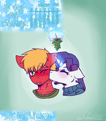 Size: 488x556 | Tagged: safe, artist:fluffyrainbowkitty, big macintosh, rarity, pony, female, holly, holly mistaken for mistletoe, kissing, male, rarimac, shipping, straight