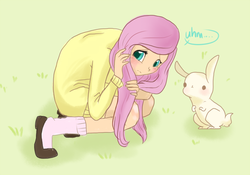 Size: 600x421 | Tagged: ..., artist:laceymod, blushing, clothes, cute, dialogue, dot eyes, female, fluttershy, human, humanized, rabbit, safe, shy, shyabetes, socks, solo, speech bubble