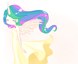 Size: 700x575 | Tagged: ambiguous facial structure, artist:laceymod, clothes, cute, cutelestia, dress, eyes closed, female, horned humanization, human, humanized, no mouth, no nose, princess celestia, safe, solo, winged humanization, wings