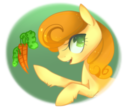Size: 865x756 | Tagged: artist:pinkabea, carrot, carrot top, colored pupils, cute, female, food, golden harvest, leg fluff, mare, open mouth, pony, profile, safe, solo