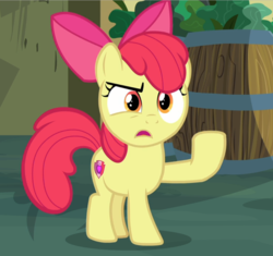 Size: 977x919 | Tagged: acting, apple bloom, cropped, female, filly, marks for effort, open mouth, pony, raised eyebrow, raised hoof, safe, screencap, snipping tool, solo, solo female, spoiler:s08e12