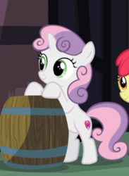 Size: 406x554 | Tagged: barrel, bipedal, bipedal leaning, cropped, female, leaning, marks for effort, offscreen character, pony, safe, screencap, snipping tool, solo focus, spoiler:s08e12, sweetie belle