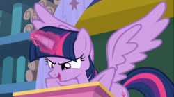 Size: 1668x935 | Tagged: alicorn, a matter of principals, cropped, female, glowing horn, open mouth, pony, safe, screencap, snipping tool, spoiler:s08e14, spread wings, twilight sparkle, twilight sparkle (alicorn), wings