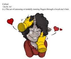 Size: 6699x5585 | Tagged: absurd res, afro, artist:denzel, claws, clothes, colored, color edit, cute, definition, disembodied hand, edit, editor:therussbuss, griffon, hand, heart, love, oc, oc:eid, oc:idle thoughts, petting, pony, safe, sweater, text, unicorn