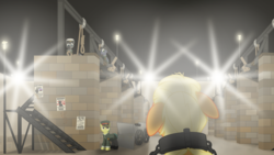Size: 3840x2160 | Tagged: safe, artist:eagle1division, applejack, oc, oc:gold will, pony, a world apart, fanfic:tapestry: a world apart, alternate universe, cap, cart, cement, clothes, collar, courtyard, execution, fanfic art, floppy ears, gallows, hat, imminent death, implied hanging, lamppost, metal, noose, officer, poster, prisoner, shackles, spotlight, this will end in death, uniform, yoke