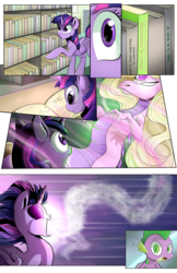 Size: 1800x2786 | Tagged: absorption, alicorn, artist:bigonionbean, artist:candyclumsy, book, canterlot, comic, comic:twilight's kronenberg, dragon, dragoness, female, ghost, library, pony, possessed, safe, spike, spirit, twilight sparkle, twilight sparkle (alicorn)