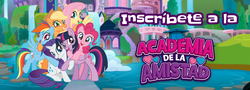 Size: 1280x460 | Tagged: alicorn, applejack, fluttershy, mane six, official, pinkie pie, rainbow dash, rarity, safe, school of friendship, spanish, twilight sparkle, twilight sparkle (alicorn)