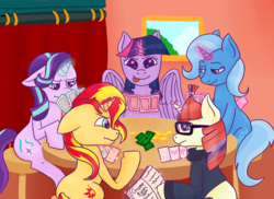 Size: 3850x2800 | Tagged: safe, artist:kiwiscribbles, moondancer, starlight glimmer, sunset shimmer, trixie, twilight sparkle, alicorn, pony, unicorn, card, cheating, counterparts, floppy ears, gambling, glasses, glowing horn, levitation, magic, magical quintet, money, poker, sitting, smiling, telekinesis, tongue out, twilight sparkle (alicorn), twilight's counterparts, unicorn magic, wavy mouth