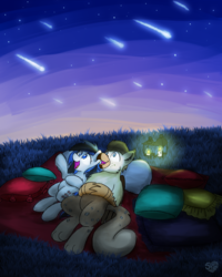 Size: 2048x2560 | Tagged: artist:sugar morning, bolzie, female, grass, griffon, happy, hill, lantern, looking up, mare, night, night sky, oc, oc:bolton, oc:kezzie, oc only, oc x oc, on back, open mouth, pegasus, picnic blanket, pillow, pony, safe, shipping, sky, starry night