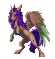 Size: 856x923 | Tagged: alicorn, alicorn oc, artist:requiem♥, blue eyes, brown fur, chest fluff, commission, cutie mark, horn, long mane, oc, oc:vine demise, purple mane, safe, solo, wings