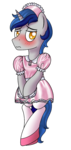 Size: 500x1050 | Tagged: safe, artist:cappie, oc, oc only, oc:cappie, pony, unicorn, blushing, body pillow, body pillow design, clothes, crossdressing, dress, forced feminization, maid, maid headdress, male, satin, shiny, shoes, silk, simple background, sissy, skirt, socks, solo, stallion, stockings, thigh highs, transparent background, uniform