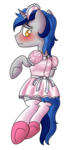 Size: 500x1050 | Tagged: safe, artist:cappie, oc, oc only, oc:cappie, pony, unicorn, blushing, body pillow, body pillow design, clothes, crossdressing, dress, forced feminization, maid, maid headdress, male, padlock, satin, shiny, shoes, silk, simple background, sissy, skirt, socks, solo, stallion, stockings, thigh highs, transparent background, uniform, zipper