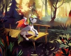 Size: 1184x937   Tagged: safe, artist:dearmary, oc, oc only, bat pony, pony, forest, pier, scenery, solo, water