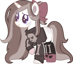Size: 2106x1869 | Tagged: artist:elizadoesadopts, blushing, bone, bow, clothes, colored lineart, female, flats, freckles, goth, hair bow, heart, long mane, long tail, mare, oc, oc:goth mocha, oc only, pony, ponytail, raised hoof, safe, shoes, simple background, skull, smiling, socks, solo, stockings, sweater, thigh highs, transparent background, unicorn
