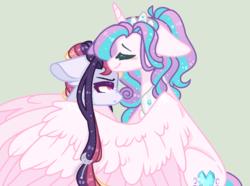 Size: 912x678 | Tagged: safe, artist:nocturnal-moonlight, princess flurry heart, oc, oc:astral moonlight, pony, unicorn, female, hug, magical lesbian spawn, mare, offspring, older, older flurry heart, parent:rainbow dash, parent:twilight sparkle, parents:twidash, simple background
