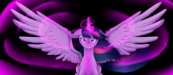 Size: 6252x2718 | Tagged: safe, artist:miiv12, twilight sparkle, alicorn, pony, absurd resolution, female, mare, serious, serious face, solo, spread wings, twilight sparkle (alicorn), wings