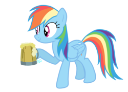 Size: 1057x755 | Tagged: safe, rainbow dash, pony, the super speedy cider squeezy 6000, cider, simple background, solo, tankard, transparent background, vector
