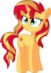 Size: 5466x7858 | Tagged: safe, artist:aureai-sketches, artist:cyanlightning, sunset shimmer, pony, unicorn, .svg available, absurd resolution, chest fluff, cute, daaaaaaaaaaaw, ear fluff, female, hnnng, lidded eyes, mare, simple background, solo, transparent background, vector