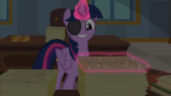 Size: 1667x936 | Tagged: safe, screencap, twilight sparkle, alicorn, pony, friendship university, adorkable, cute, disguise, dork, eyepatch, eyepatch (disguise), female, glowing horn, magic, magic aura, mare, smiling, solo, twiabetes, twilight sparkle (alicorn)