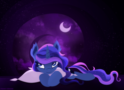 Size: 2338x1700 | Tagged: alicorn, artist:pedrohander, bedroom eyes, cloud, crescent moon, ethereal mane, hug, moon, pillow, pillow hug, pony, princess luna, safe, solo, starry mane