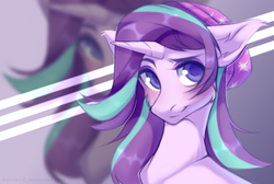 Size: 1578x1058 | Tagged: safe, artist:kaitowivil, starlight glimmer, pony, unicorn, equestria girls, mirror magic, spoiler:eqg specials, beanie, blushing, bust, cheek fluff, colored pupils, cute, ear fluff, equestria girls ponified, eye clipping through hair, female, floppy ears, glimmerbetes, hat, mare, ponified, portrait, smiling, solo, zoom layer