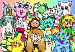 Size: 4000x2762 | Tagged: safe, artist:raystarkitty, rainbow dash, oc, human, pegasus, pikachu, pony, yoshi, spoiler:deltarune, asriel dreemurr, bender bending rodriguez, care bears, cookie run, crossover, cuphead, cuphead (character), deltarune, female, futurama, humanized, kidcore, kirby, kirby (character), link, nintendo, pammee, pancake cookie, persona, pokémon, ralsei, rhythm heaven, super mario bros., the legend of zelda, thomas the tank engine, toon link, undertale, wish bear, yoohoo & friends