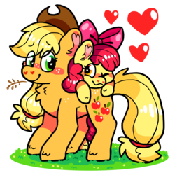 Size: 3732x3738 | Tagged: adorabloom, apple bloom, applejack, artist:raystar-draws, blushing, bow, cute, duo, earth pony, female, filly, foal, freckles, grass, hair bow, hay stalk, heart, jackabetes, kidcore, mare, pony, safe, sisters, smiling