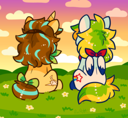 Size: 3912x3602 | Tagged: safe, artist:raystar-draws, oc, oc:paper lily, oc:starfruit bliss, pegasus, pony, unicorn, best friends, duo, female, grass, kidcore, mare, nonbinary, sky, sunset, wings