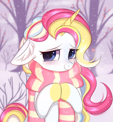 Size: 1922x2080 | Tagged: safe, artist:pesty_skillengton, oc, oc only, pony, unicorn, clothes, cute, female, floppy ears, heart eyes, mare, scarf, snow, snowfall, solo, tree, wingding eyes, winter