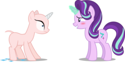 Size: 3144x1564 | Tagged: artist:diegator007, artist:frownfactory, artist:parclytaxel, artist:tardifice, blushing, cutie mark, edit, editor:slayerbvc, embarrassed, female, furless, furless edit, glowing horn, hairless, magic, mare, nervous, no eyelashes, nude edit, nudity, oops, rarity, rarity's biggest fan, safe, shaved, shaved tail, sheepish grin, simple background, spell gone wrong, starlight glimmer, transparent background, unicorn, vector, vector edit, whoops, wide eyes