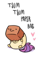 Size: 340x500 | Tagged: artist:paperbagpony, cute, derpibooru exclusive, heart, oc, ocbetes, oc:paper bag, safe, simple background, tsum tsum, white background