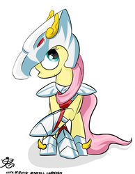 Size: 2755x3542 | Tagged: armor, artist:ruiont, female, fluttershy, high res, hooves, mare, pegasus, pegasus seiya, pony, safe, saint seiya, simple background, solo, white background