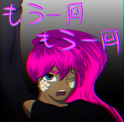 Size: 875x865 | Tagged: artist:sinraal, chromatic aberration, clothes, crying, derpibooru exclusive, hoodie, japanese, looking at you, oc, oc only, oc:sinraal, pink hair, pony, safe, solo, teary eyes