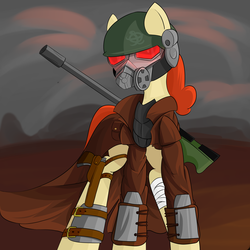 Size: 3937x3937 | Tagged: artist:ruiont, bandage, clothes, fallout, fallout: new vegas, female, gun, helmet, high res, hooves, mare, mask, oc, oc:batlatoya, oc only, pegasus, pony, rifle, safe, solo, veteran ranger, wasteland, weapon