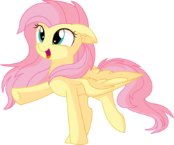 Size: 7413x6193 | Tagged: absurd res, artist:aureai, artist:cyanlightning, cute, ear fluff, female, fluttershy, happy, mare, open mouth, pegasus, safe, simple background, solo, sounds of silence, spoiler:s08e23, spread wings, standing, .svg available, transparent background, vector, wings