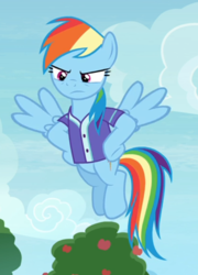 Size: 542x751 | Tagged: safe, screencap, rainbow dash, pegasus, pony, the end in friend, clothes, cropped, female, flying, hooves on hips, jersey, mare, rainbow dash is not amused, solo, spread wings, unamused, wings