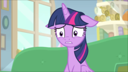 Size: 1365x770 | Tagged: safe, screencap, twilight sparkle, alicorn, pony, starlight the hypnotist, spoiler:interseason shorts, female, floppy ears, mare, scared, sitting, solo, twilight sparkle (alicorn)