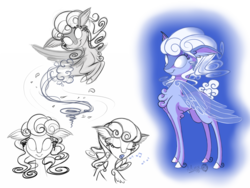 Size: 1800x1350 | Tagged: safe, artist:sirzi, oc, oc only, air elemental, deer, elemental, original species, peryton, chest fluff, cloud, cloud mane, doe, ethereal mane, glowing eyes, leaves, magic, music notes, simple background, singing, sketch, sketch dump, smiling, solo, sylphidoe, whirlwind, white background, white eyes, wind, wings