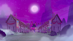 Size: 1440x810 | Tagged: full moon, house, moon, night, no pony, our town, safe, screencap, stars, to where and back again, village