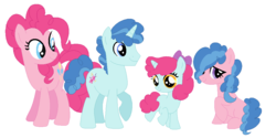 Size: 1041x522 | Tagged: artist:artamis9, base used, blank flank, earth pony, female, filly, oc, offspring, parent:party favor, parent:pinkie pie, parents:partypie, party favor, partypie, pinkie pie, pony, safe, shipping, straight, unicorn