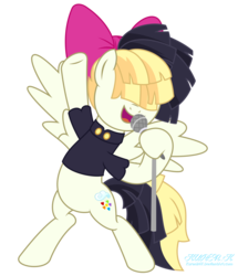 Size: 9000x10467 | Tagged: absurd res, artist:kuren247, bipedal, bohemian rhapsody, clothes, female, freddie mercury, mare, microphone, my little pony: the movie, pegasus, pony, pose, safe, show accurate, sia (singer), simple background, solo, songbird serenade, transparent background, tribute, vector, watermark